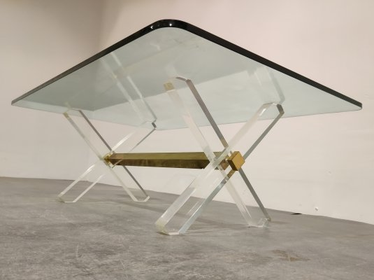 Brass & lucite coffee table, 1970s