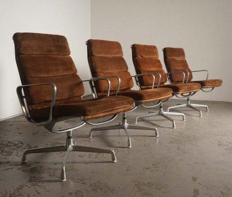 Rare suede leather EA215 softpad chairs by Charles & Ray Eames for Herman Miller, 1970's