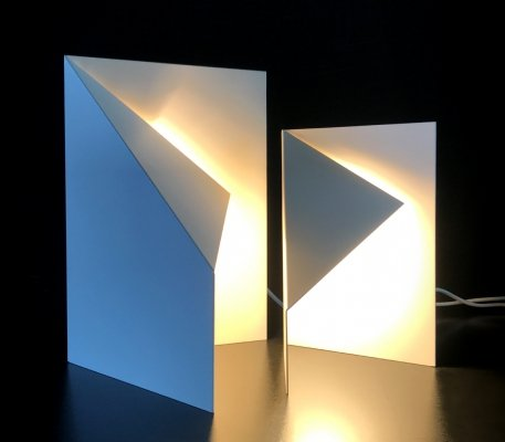 Rare Sculptural minimal folded lamps by Lyskilde, 1990s