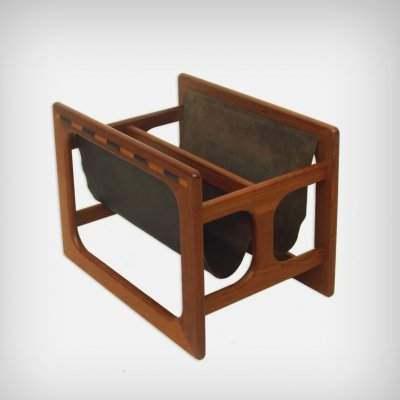 Danish Teak & Leather Magazine Rack by Salin Møbler, 1970s