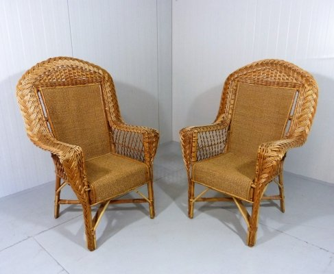 Set of 2 large rattan easy chairs, 1960-70's