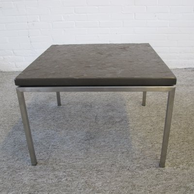 Vintage metal & natural stone coffee table, 1980s