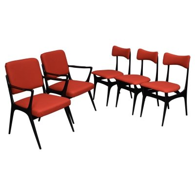 Set of 5 Alfred Hendrickx model S5 dining chairs for Belform, Belgium 1950s