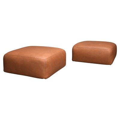 Mario Bellini for Cassina 'Le Mura' poufs in tan leather, Italy 1970s