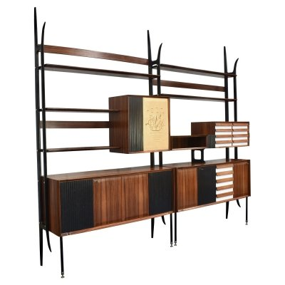 Italian wall unit in rosewood & brass by Vittorio Dassi for Mobili Cantu, 1964