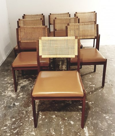 Set of 8 Vintage cane, teak & leatherette dining chairs by Topform, 1960s