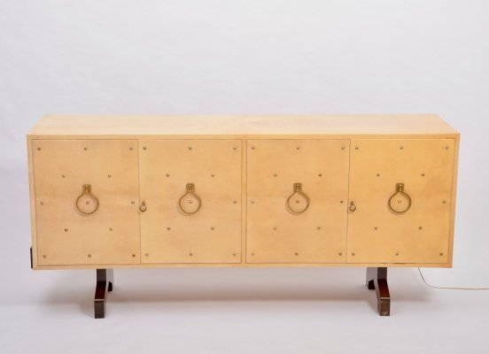 Mid-Century Sideboard in Beige Lacquered Goat Skin by Aldo Tura, Italy 1970s