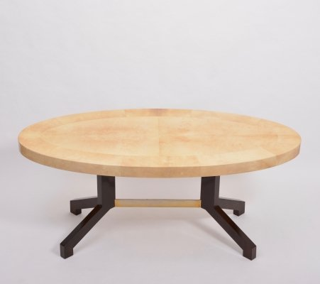Beige Aldo Tura Oval Dining Table in Lacquered Goatskin