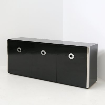 Italian sideboard by Willy Rizzo for Mario Sabot in black wood & steel, 1970s