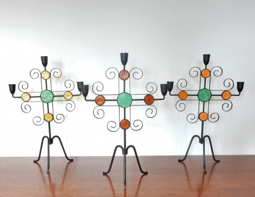 Set of 3 wrought iron & glass candelabra by Gunnar Ander for Ystad metall, Sweden 1960s