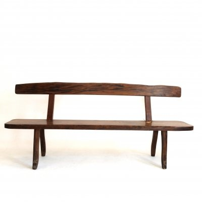 Large solid elm bench by Olavi Hanninen, 1960s