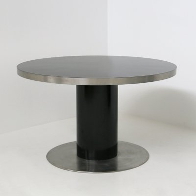 Italian Pedestal round table by Willy Rizzo in steel & wood black, 1970s