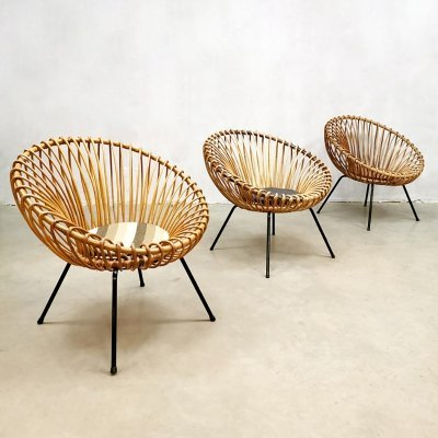 Set of 3 vintage design rattan easy chairs, 1950s