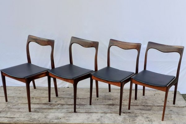 Set of 4 Rosewood Niels Moller dining chairs, 1960s