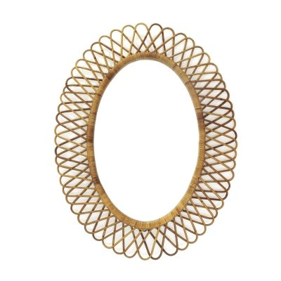 Oval Mirror with rattan frame, 1950s