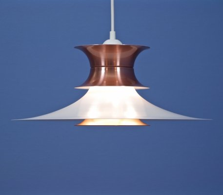 Danish hanging lamp in white with pink copper, 1960s