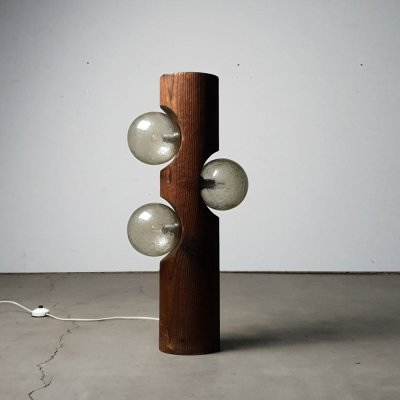Sculptural wooden floor lamp from Temde Leuchten, 1960s