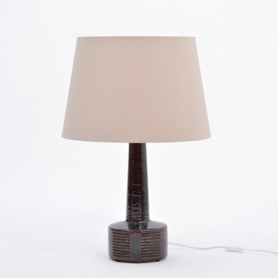 Tall Ceramic Table Lamp in Dark Brown by Per Linnemann Schmidt for Palshus