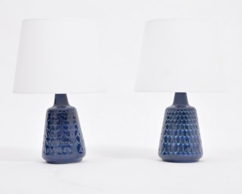 Mid-Century Model 1019 Blue Stoneware Table Lamps by Einar Johansen for Søholm