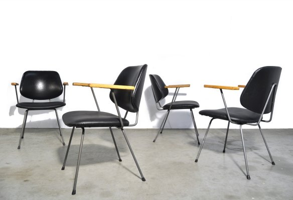 Mid-century vintage industrial dining chairs by Wim Rietveld for Kembo, 1950s