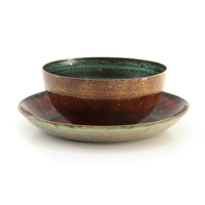 Pair of enamelled copper bowls by Sergio Santi for Vigna Nuova Firenze, 1950s