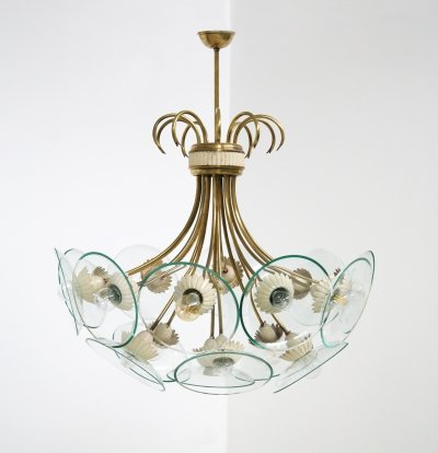 Rare brass & crystal chandelier by Pietro Chiesa for Fontana Arte, Italy 1940s