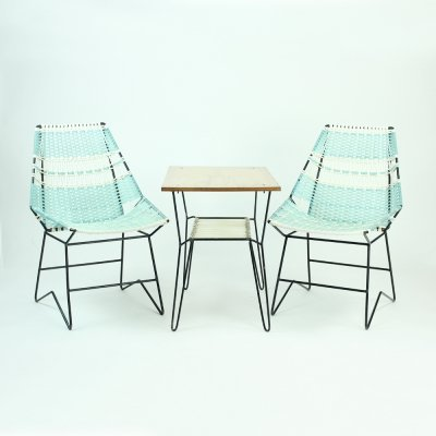Vintage Garden Seating set with 2 Armchairs & Table, Czechoslovakia 1960s