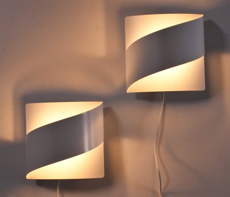 Set of Scandinavian Modern Bent Metal Wall Lights by Peter Celsing, 1960s