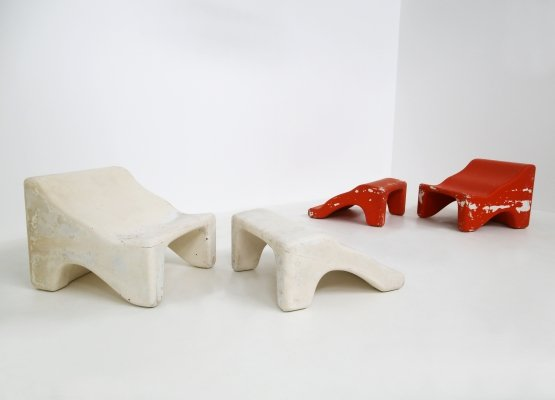 Pair of Italian lounge chairs in red & white by Cesare Augusto Nava, 1970s