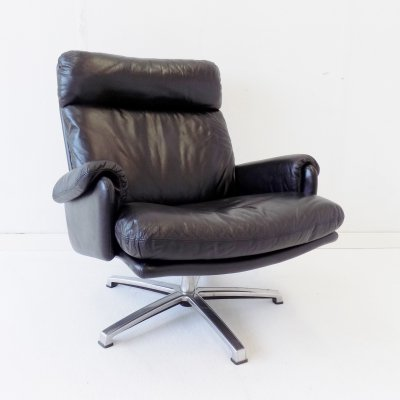 ESA black leather armchair by Werner Langenfeld, 1960s