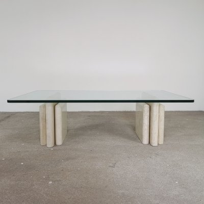 Glass & marble coffee table, 1980s