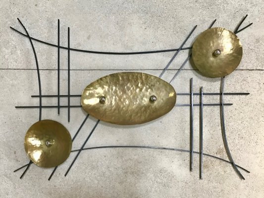 Large German GDR Wrought Brass & Iron Sculptural Abstract Art Wall Relief, 1950s