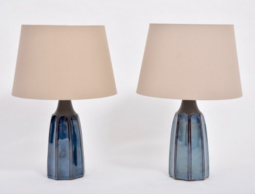 Pair of Tall Blue Stoneware Table Lamps Model 1042 by Einar Johansen for Søholm
