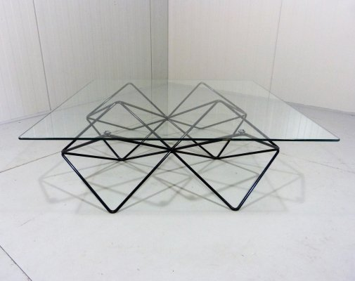 Black steel wire & glass coffee table, 1980's