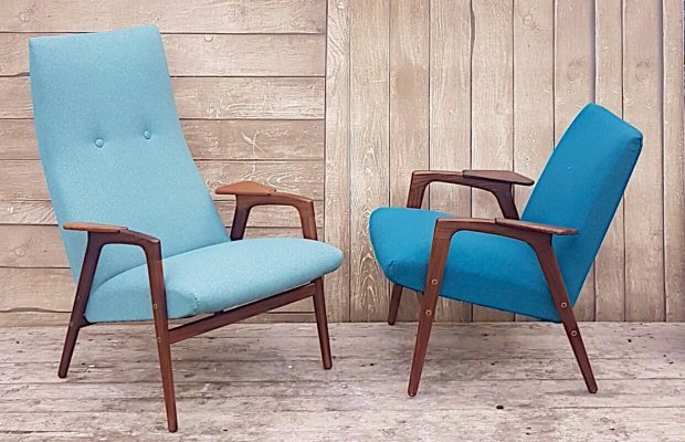 Pair of Mid Century Lounge Chairs by Yngve Ekström for Pastoe, 1960s