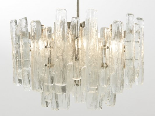 Large Glass Chandelier Model 'Sierra' by J.T. Kalmar, Austria 1960's