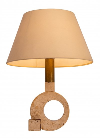 Fratelli Mannelli travertine & golden brass table lamp, 1970s