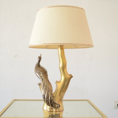Hollywood regency brass 'peacock' lamp by Willy Daro, 1970s