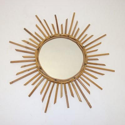Vintage French sunburst mirror, 1950s