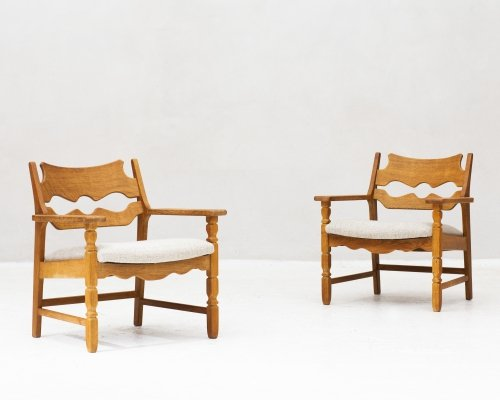 Set of two 'Razor blade' easy chairs by Henning Kjaernulf, Denmark 1960