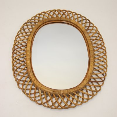 Large vintage oval bamboo mirror, 1950s
