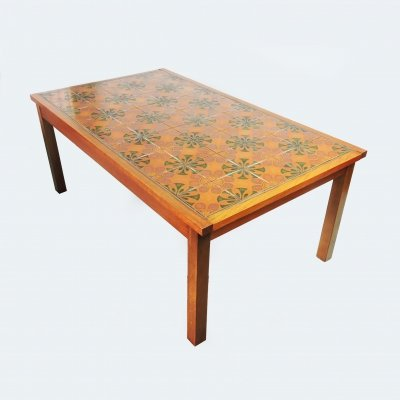 Wooden & Decorative Ceramic Tiled Coffee Table, 1970s