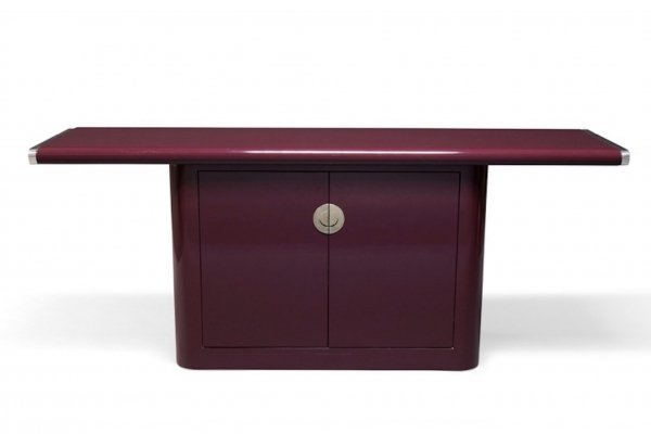Mid century burgundy lacquered credenza sideboard, 1970s