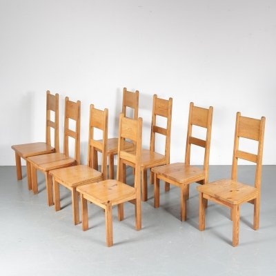 Set of 8 dining chairs by Roland Wilhelmsson for Karl Andersson & Söner, 1950s