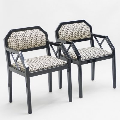 Rare pair of black lacquer chairs by J.C. Mahey, 1970s