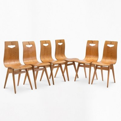 Set of 6 ash chairs by R.T. Hałas, 1960s