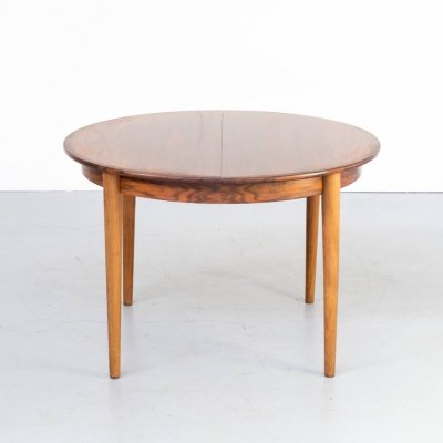 70s rosewood round extendable dining table
