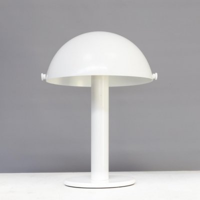 90s White metal mushroom table lamp