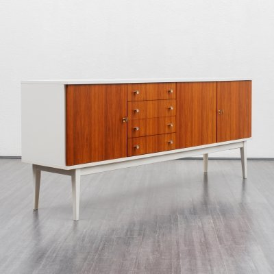 Mid Century white lacquered sideboard with teak fronts, 1970s