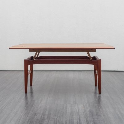 Height-adjustable & extendable teak coffee- / dining table, 1960s